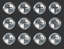 Religious Cross Icons on Metal Internet Buttons Royalty Free Stock Photos