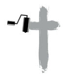 Religious cross  simple illustration created with smudge b. Rushstrokes. Spiritual symbol, art drawing of crucifix Royalty Free Stock Photos