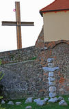 Religious cross of some stones nearly church in Brno. Czech Stock Image