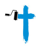 Religious cross vector simple illustration created with smudge b. Rushstrokes. Spiritual symbol, art drawing of crucifix Stock Photos