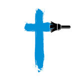 Religious cross vector simple illustration created with smudge b Stock Image