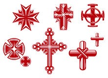 Religious crosses. Set of religious crosses and icons for religion design Royalty Free Stock Photo