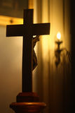 Religious crucifix. A religious crucifix with Jesus Christ on the cross stock photos