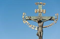 Religious detail of Charles' Bridge in Prague Stock Image