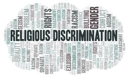 Religious Discrimination - type of discrimination - word cloud. Wordcloud made with text only royalty free illustration