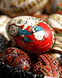 Religious Easter eggs. Pile of hand painted traditional Romanian religious Easter eggs Stock Image