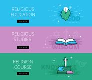 Religious Education. Religious studies. Religious Course.. Flat design science education banners template set. Education concept for web and app design Stock Photos