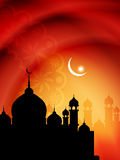 Religious eid background design with mosque. Royalty Free Stock Image