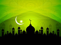Religious eid background design with mosque. Royalty Free Stock Photos