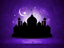 Religious eid background design with mosque. Stock Photo
