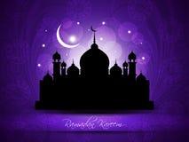Religious eid background design with mosque. Stock Photo