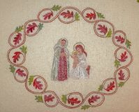 Religious embroidery. Christmas scene with Anna, Mary and Jesus Stock Photography