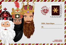 Religious envelope. Illustration of envelope addressed to Reyes Magos Royalty Free Stock Photos
