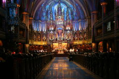 Religious event in Notre Dame Basilica Montreal Stock Photos