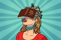 Religious fanatic woman Royalty Free Stock Image