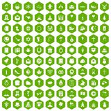 100 religious festival icons hexagon green. 100 religious festival icons set in green hexagon isolated vector illustration Royalty Free Stock Photo