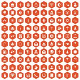 100 religious festival icons hexagon orange. 100 religious festival icons set in orange hexagon isolated vector illustration royalty free illustration