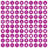 100 religious festival icons hexagon violet. 100 religious festival icons set in violet hexagon isolated vector illustration vector illustration