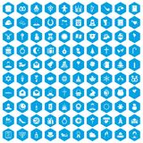100 religious festival icons set blue. 100 religious festival icons set in blue hexagon isolated vector illustration vector illustration