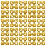 100 religious festival icons set gold. 100 religious festival icons set in gold circle isolated on white vector illustration Royalty Free Stock Photo