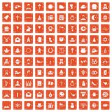 100 religious festival icons set grunge orange. 100 religious festival icons set in grunge style orange color isolated on white background vector illustration Stock Images