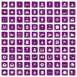 100 religious festival icons set grunge purple. 100 religious festival icons set in grunge style purple color isolated on white background vector illustration Royalty Free Stock Photo