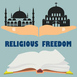 Religious freedom. Flat vector stock illustration Royalty Free Stock Photos