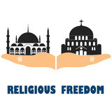 Religious freedom. Flat vector stock illustration Stock Images