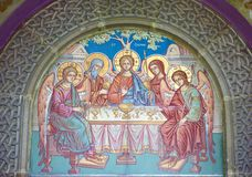 Religious fresco. Details of religious fresco in orthodox church Stock Images
