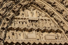 Religious fresco on Cathedral of Amiens Royalty Free Stock Photography