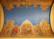 Religious fresco on ceiling. Colorful orthodox religious fresco on domed ceiling Stock Images