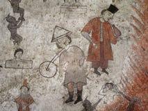 Fragment of fresco - strange interweave between European and Eastern motifs stock photos