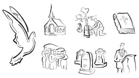 Religious & funeral vectors. A set of 7 illustrated, stylized religious and funeral vector icons Stock Photography