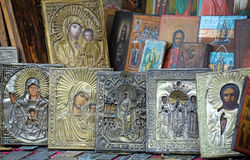 Religious Gift Items. Gifts and cards displaying religious Russian artwork. Vertical shot Royalty Free Stock Photos
