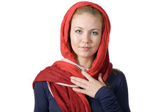 Religious girl in head scarf Royalty Free Stock Photography