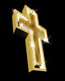 Religious gold cross. A large gold religious cross rendered in 3d on a black background Royalty Free Stock Photography