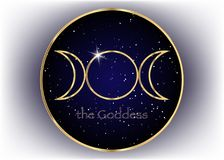 Religious gold sign. Wicca and Neopaganism. Triple Goddess, universe background royalty free illustration
