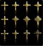 Religious golden cross design collection vector illustration