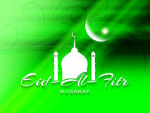 Religious green color Eid Al Fitr mubarak card design. Royalty Free Stock Photos