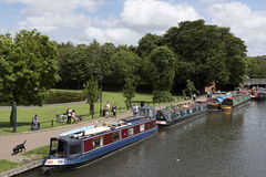 Religious group on a mission travel with their canalboats. Newbury Berkshire UK Stock Photo