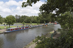 Religious group on a mission travel with their canalboats. Newbury Berkshire UK Stock Image