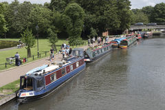 Religious group on a mission travel with their canalboats. Newbury Berkshire UK Royalty Free Stock Images