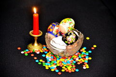 Religious holiday Easter. On a table there is a plate with Easter eggs Royalty Free Stock Photography