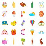 Religious holiday icons set, cartoon style. Religious holiday icons set. Cartoon set of 25 religious holiday vector icons for web isolated on white background Royalty Free Stock Images