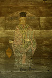 Religious icon. On the exterior wall of a wooden church from Dimitrie Gusti Village Museum in Bucharest, Romania. The church from Timiseni, Gorj county, built Royalty Free Stock Photo