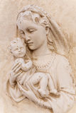 Religious icon (bas-relief) of Madonna with child, Malta. Royalty Free Stock Photography
