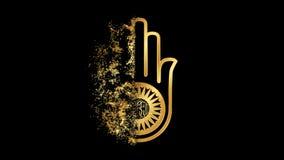 Jainism Ahimsa Religious symbol Animation, Particle Animation of Religious Icon Jainism. Religious Icon Jainism Particles Animation for films, short films vector illustration