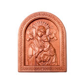 Religious icon out of wood on a white background Royalty Free Stock Photos