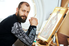 Religious icon painter man portrait Royalty Free Stock Images