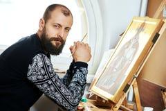 Religious icon painter man portrait Royalty Free Stock Images